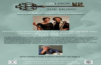 Pandit Shubhendra Rao & Vidushi Saskia Rao Poster- Unlock the Music Series.